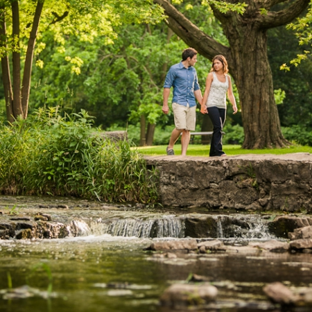 Sarah and Brent: waterfalls and stone walls Engagement