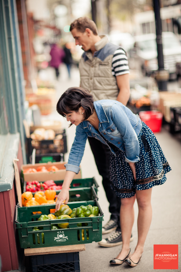 couple shops for produce eneagement shoot
