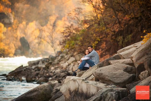 niagara river, rocks, Fall Colours, Niagara Glen, Niagara Parks, Engagement Photo Shoot, Bride and Groom to Be, Niagara Wedding Photographer, Niagara Wedding Photography
