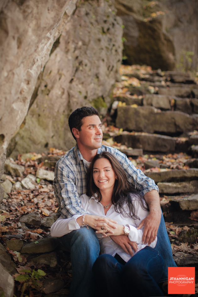 rock stairs, Fall Colours, Niagara Glen, Niagara Parks, Engagement Photo Shoot, Bride and Groom to Be, Niagara Wedding Photographer, Niagara Wedding Photography