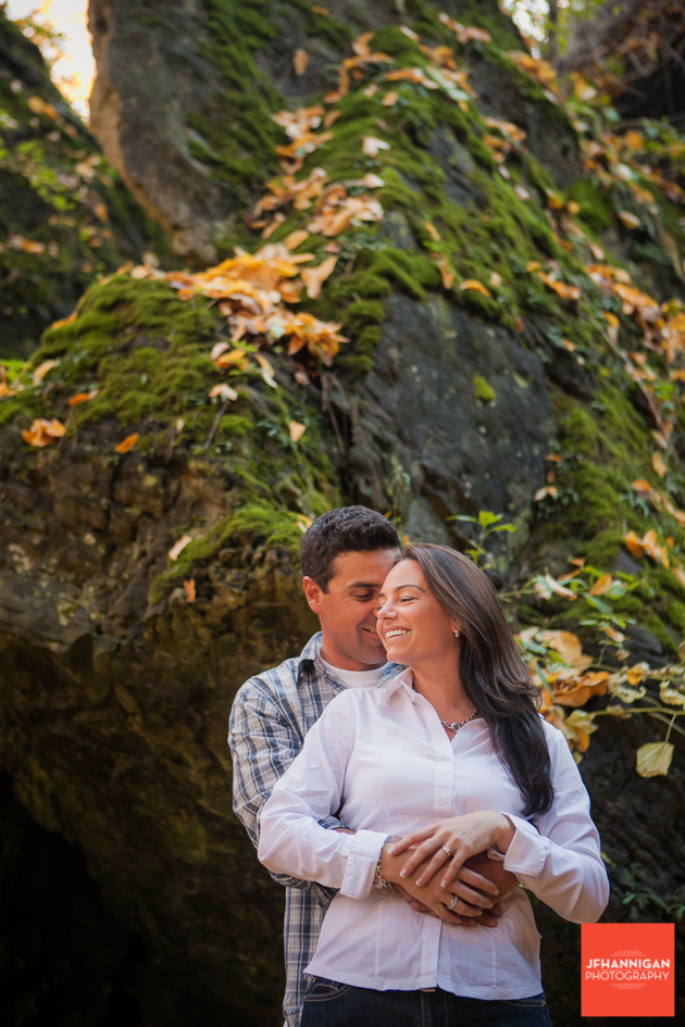 moss, rocks, Fall Colours, Niagara Glen, Niagara Parks, Engagement Photo Shoot, Bride and Groom to Be, Niagara Wedding Photographer, Niagara Wedding Photography