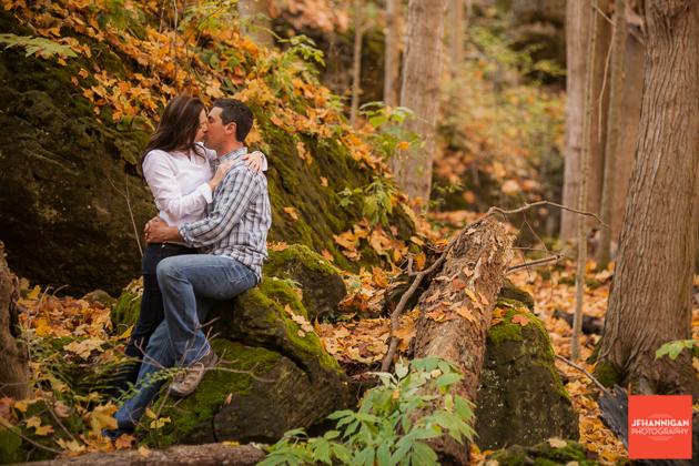 fallen tree, rocks, moss, Fall Colours, Niagara Glen, Niagara Parks, Engagement Photo Shoot, Bride and Groom to Be, Niagara Wedding Photographer, Niagara Wedding Photography