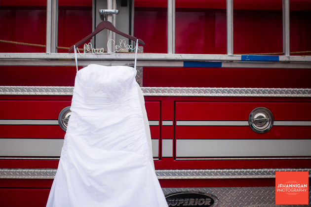 bridal dress on fire truck