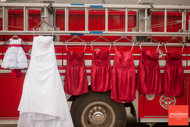 bridal party dresses on fire truck