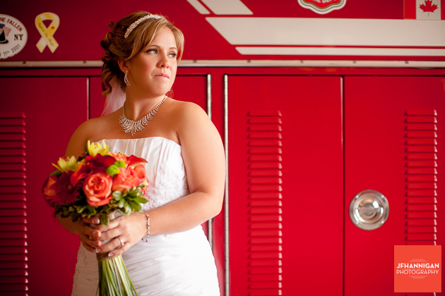 bride with fire truck in background