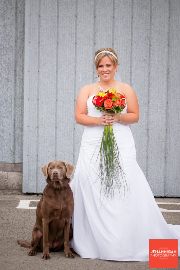 bride and pet dog