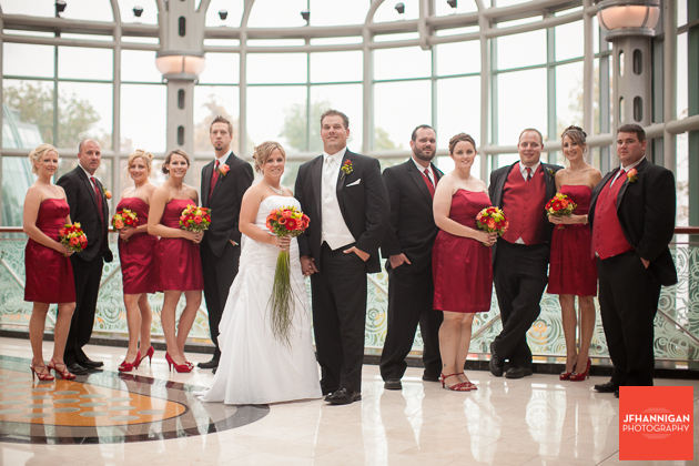 Wedding party in red white and black