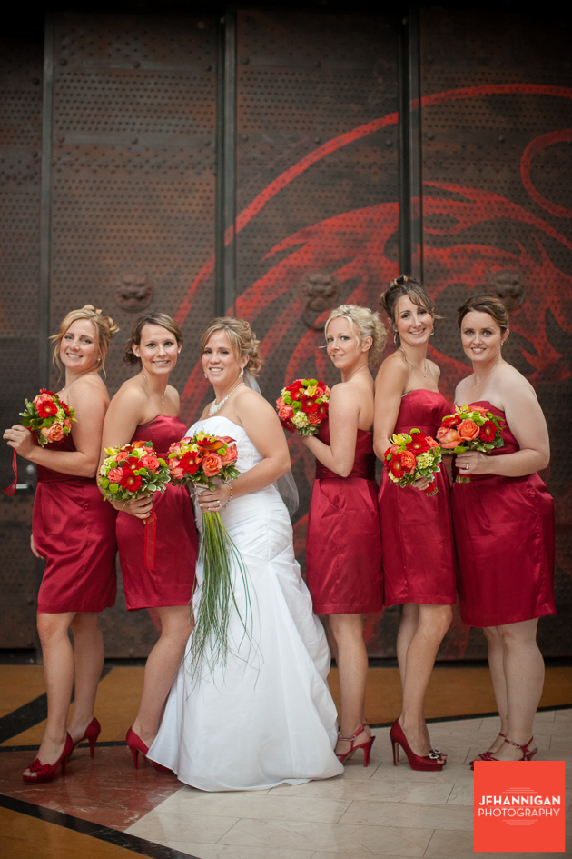 bride with bridal party with fall colors