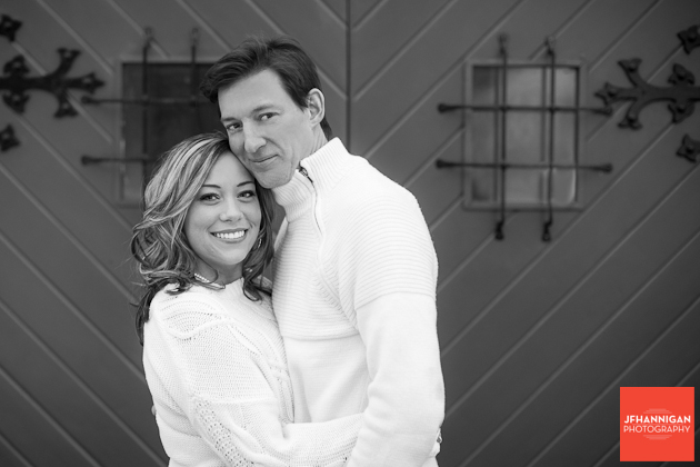couple in white engagement shoot