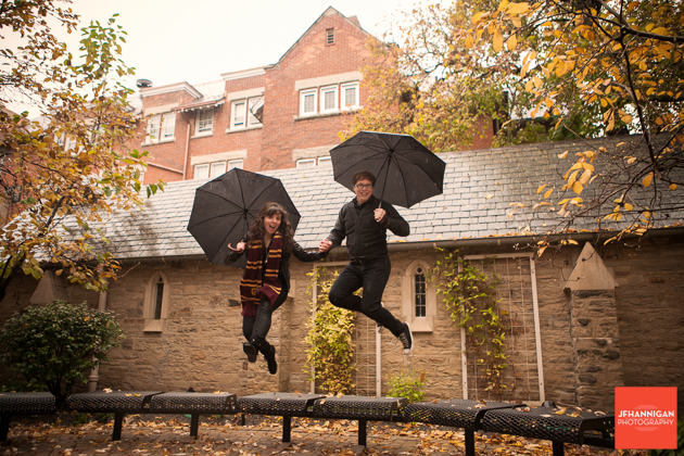 umbrellas, benches, jumping, Ridley College, Engagement Photo Shoot, Bride and Groom to Be, Niagara Wedding Photographer, Niagara Wedding Photography