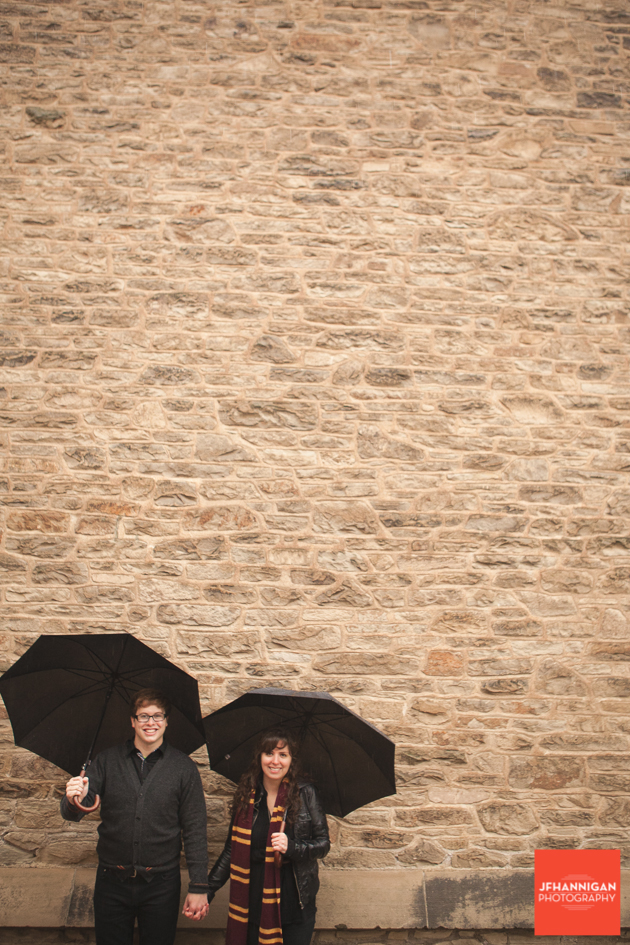 brick wall, umbrellas, Ridley College, Engagement Photo Shoot, Bride and Groom to Be, Niagara Wedding Photographer, Niagara Wedding Photography