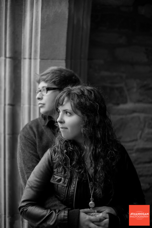 black and white, brick wall, Ridley College, Engagement Photo Shoot, Bride and Groom to Be, Niagara Wedding Photographer, Niagara Wedding Photography