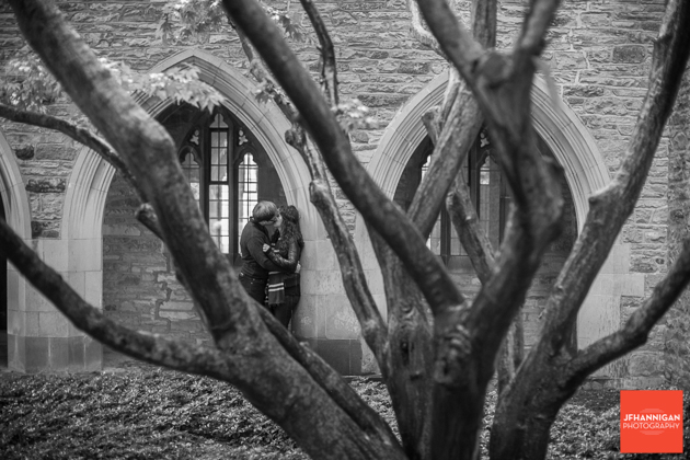 black and white, tree, archway, kiss, Ridley College, Engagement Photo Shoot, Bride and Groom to Be, Niagara Wedding Photographer, Niagara Wedding Photography