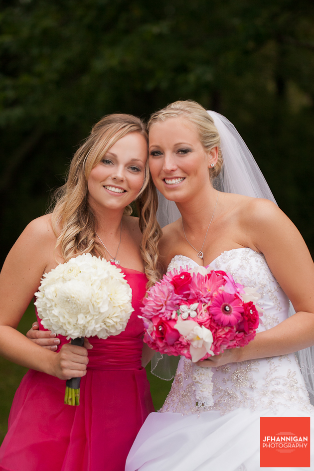 bride and bridesmaid dressed in fuschia