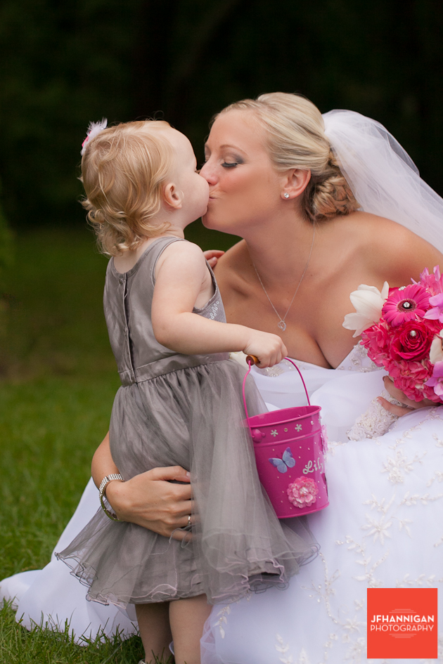 bride kisses flower girl