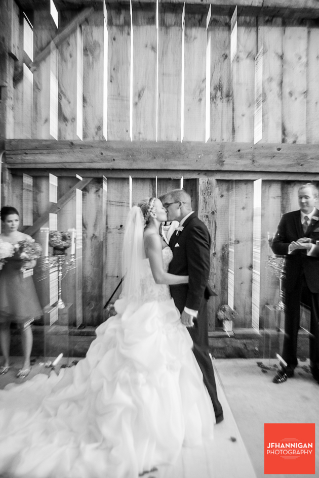 wedding kiss in barn