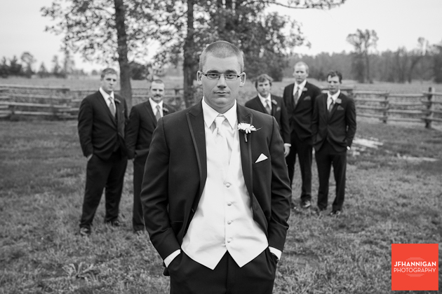 groom and ushers in a field