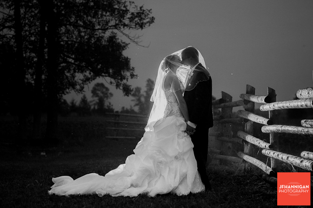bride and groom kissing under bride's veil at dusk