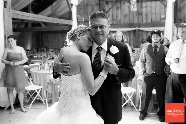 father daughter dance in barn