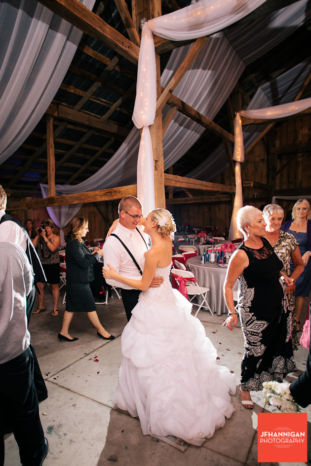reception dance in barn