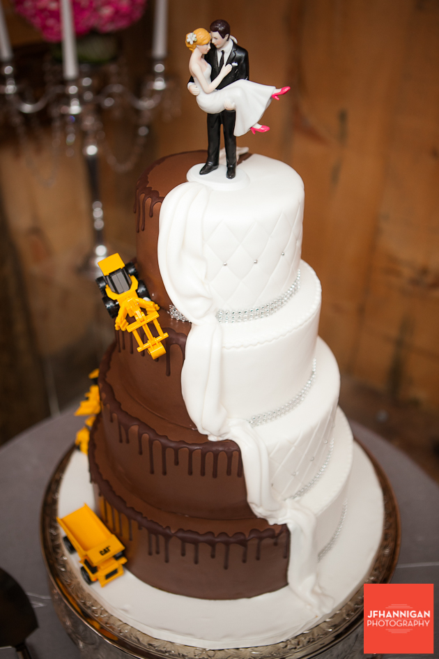 wedding cake in chocolate and vanilla icing