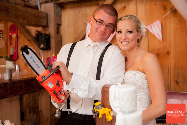 cutting wedding cake with a chain saw