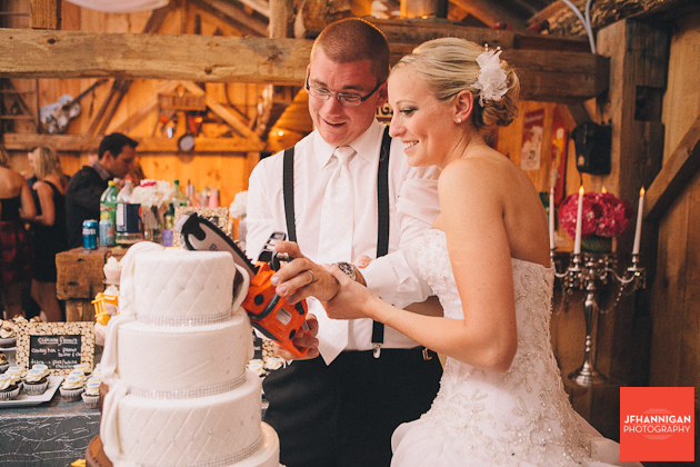 cutting wedding cake with chainsaw