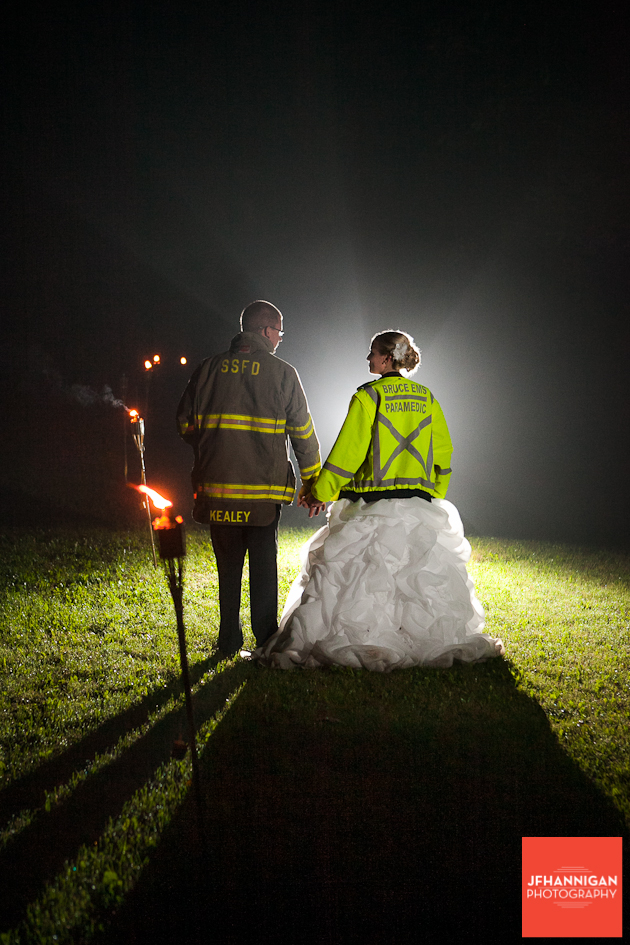 bride and groom in work rescue coats