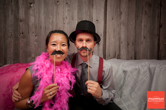 wedding guests in photobooth