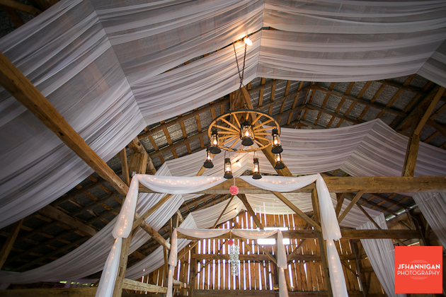 barn ceiling decorated for wedding