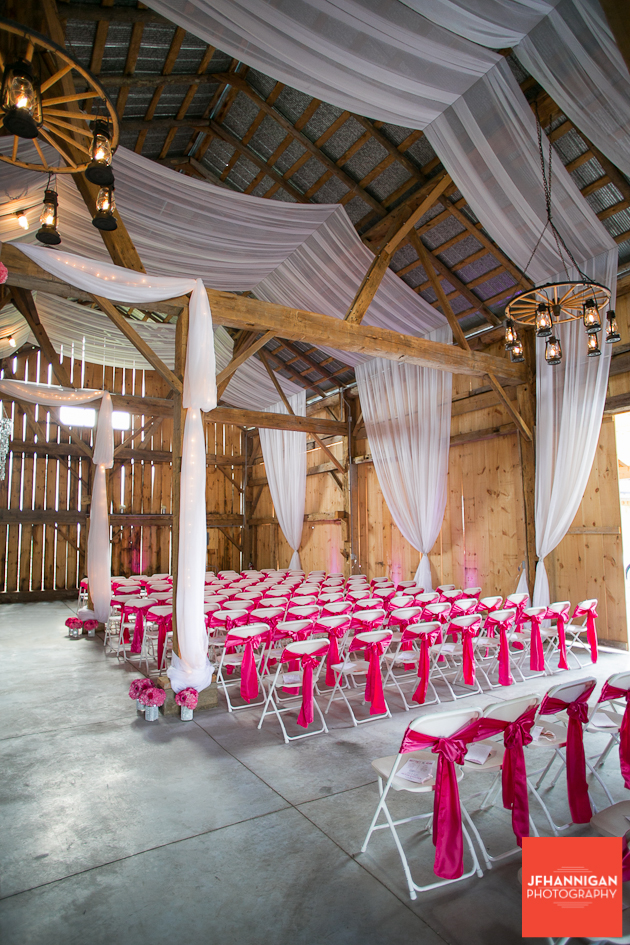 wedding ceremony in barn