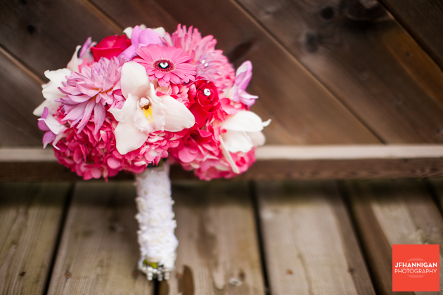 bridal bouquet with white orchids and pink gerber daisies