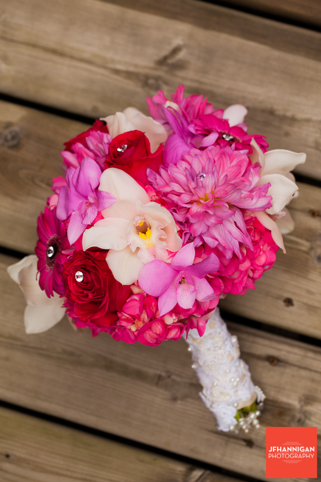 bridal bouquet in pink and white