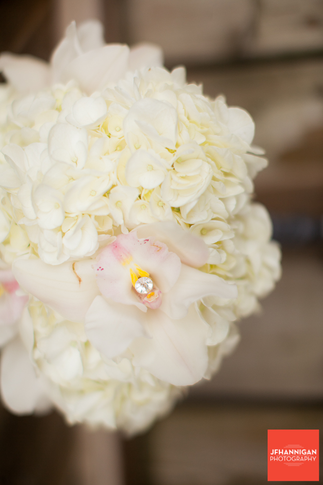 white orchid in bridesmaid bouquet