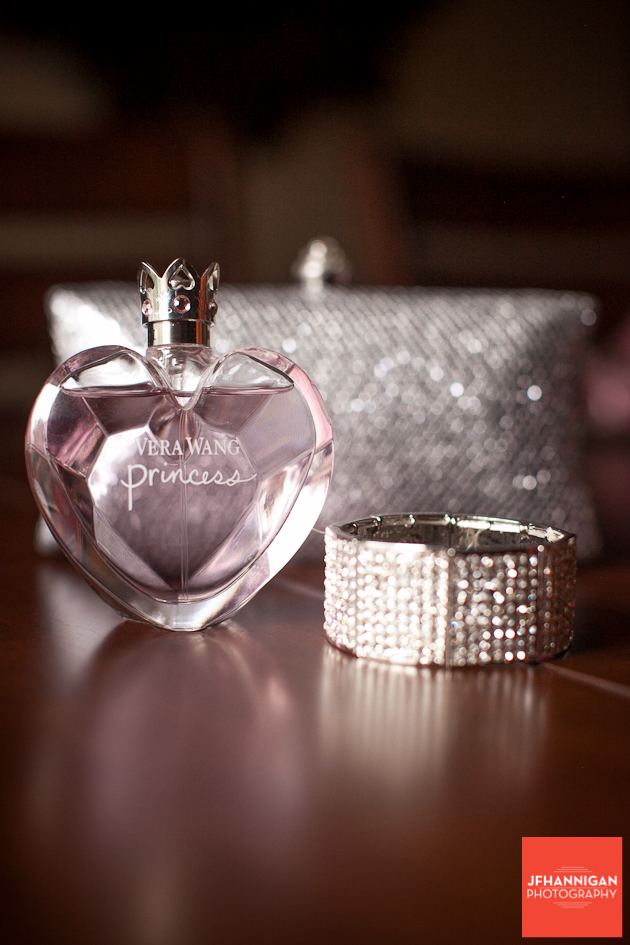 bride's perfume, bracelet and purse