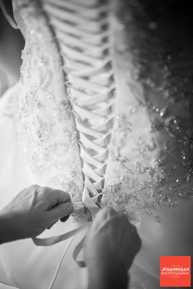 lacing of bridal gown