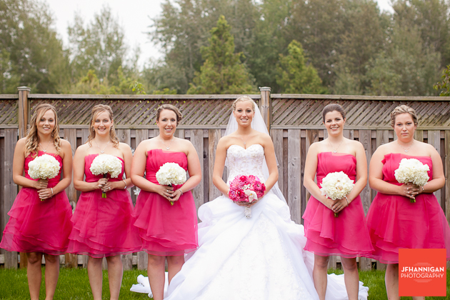 bride and bridesmaids in fuschia
