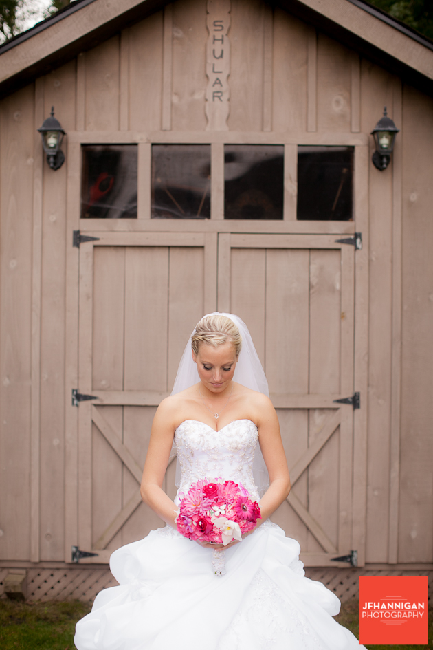 bride in front of shed