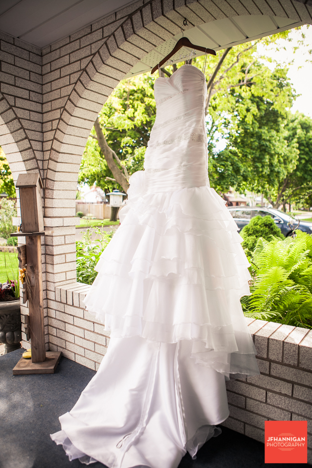wedding dress in arch