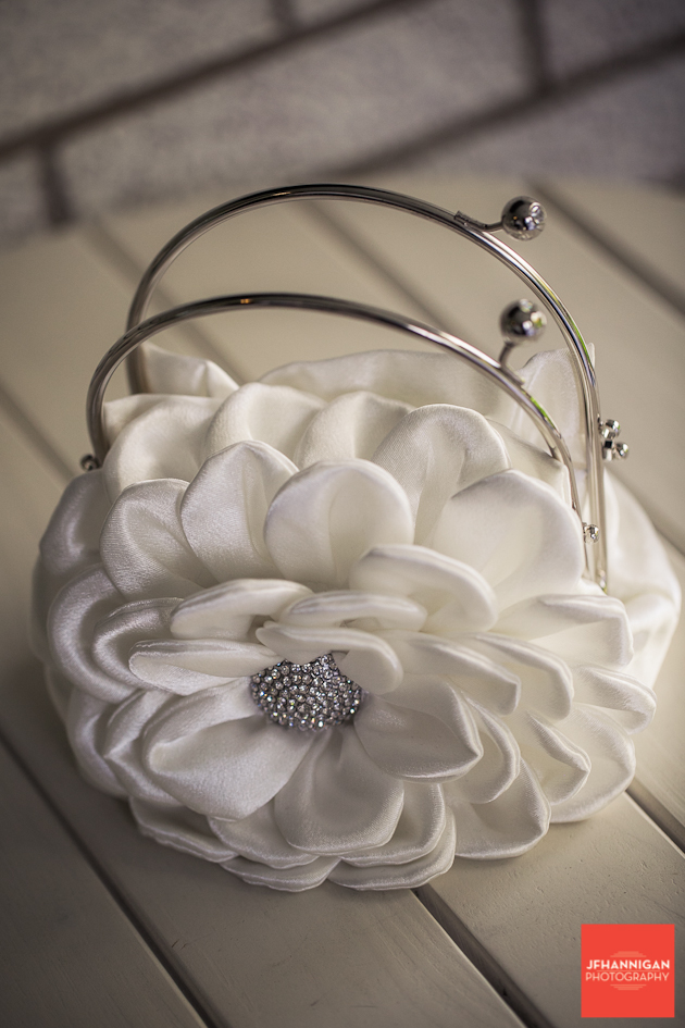 white flower purse or clutch