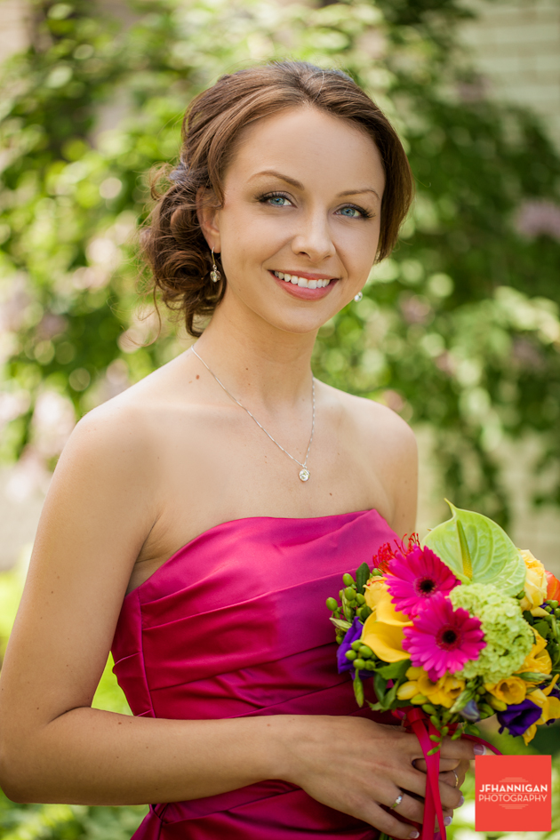 girl in pink dress bridesmaid
