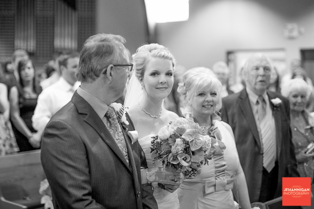bride with parents black and white