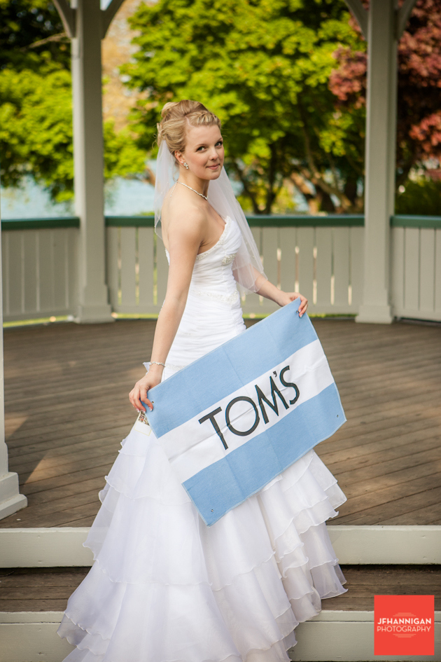 bride with toms sign