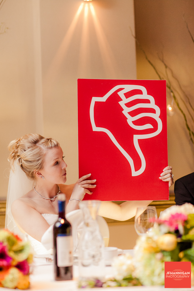 bride with giant thumbs down sign