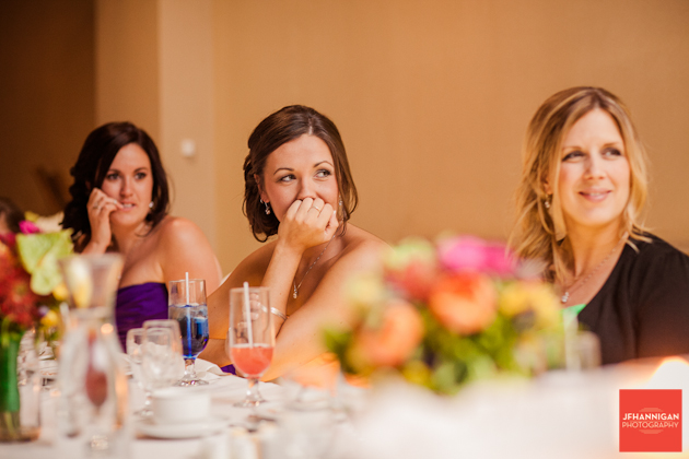 bridesmaids at head table