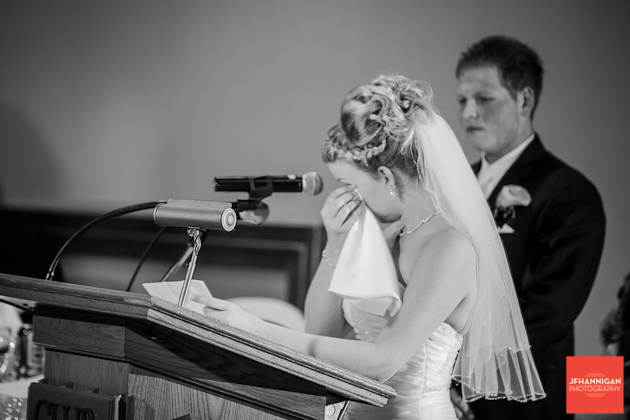 bride crying while giving speech