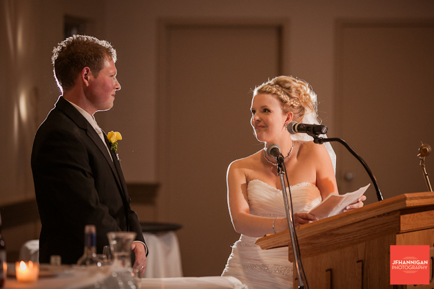 bride giving speech to groom