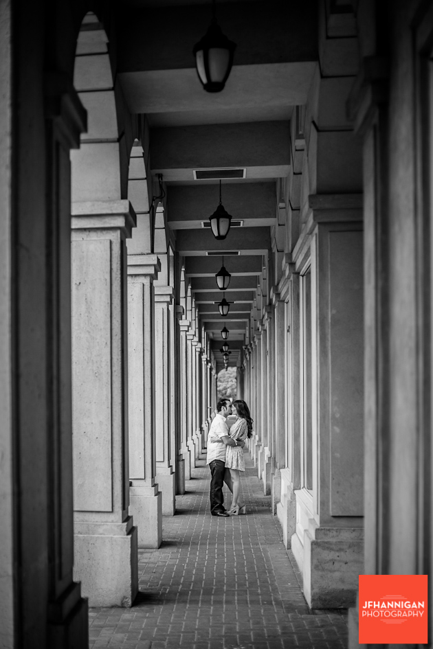 couple in walkway, Burlington black and white