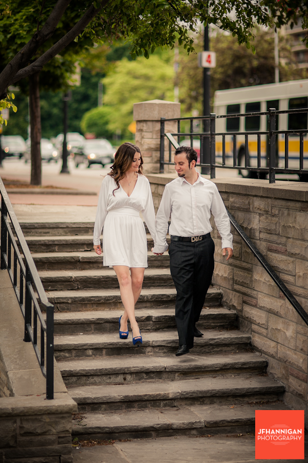 couple walking down steps, Burlington