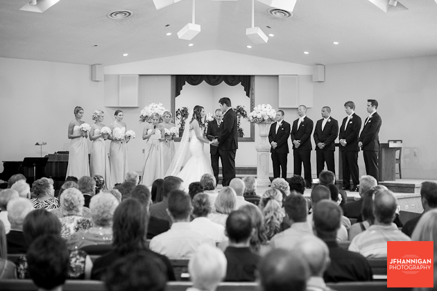 wedding party at front of church
